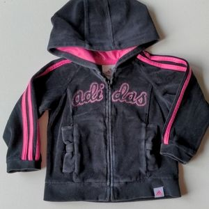 Adidas Black & Pink Zip Up Sweatshirt * 12M